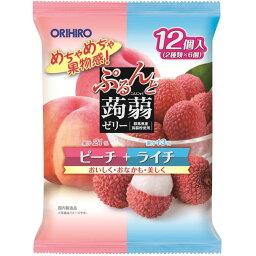 ぷるんと蒟蒻 ゼリー ゼリーパウチ ピーチ+ライチ 20gX12