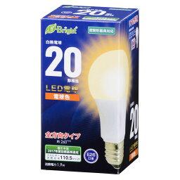 LED電球 一般電球形 E26 20形相当 1.9W 電球色 210lm 全方向タイプ 106mm LDA2L-GAG22 06-0683 OHM オーム電機